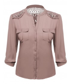 Women's Lace Patch Adjustable Tabbed Long Sleeve Blouse Plus Size