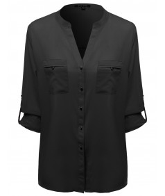 Women's Button Down Adjustable Tabbed Long Sleeve Shirt Blouse