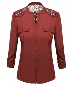 Women's Lace Patch Adjustable Tabbed Long Sleeve Shirt Blouse