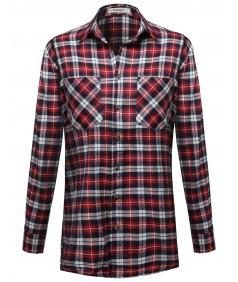 Women's Boyfriend Fit One Size Flannel Plaid Checkered Long Shirt