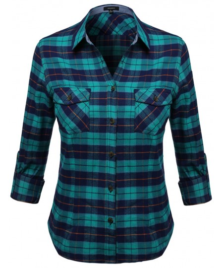 Women's Flannel Plaid Checker Rolled Up Shirt Blouse Top