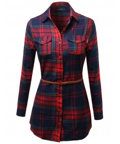 Women's Super Cute Flannel Plaid Checkered Shirt Dress With Belt