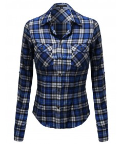 Women's Flannel Plaid Checkered Rolled Up Shirt Blouse Top