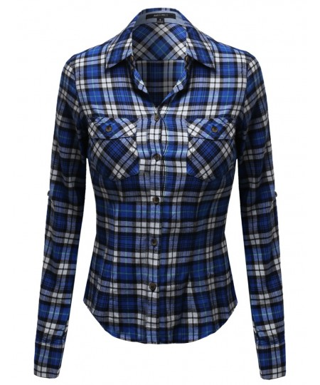 Women's Flannel Plaid Checker Roll Up Sleeves Button Down Shirt