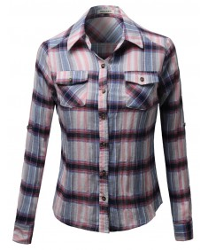 Women's Cotton Plaid Checkered Rolled Up Shirt Blouse Top