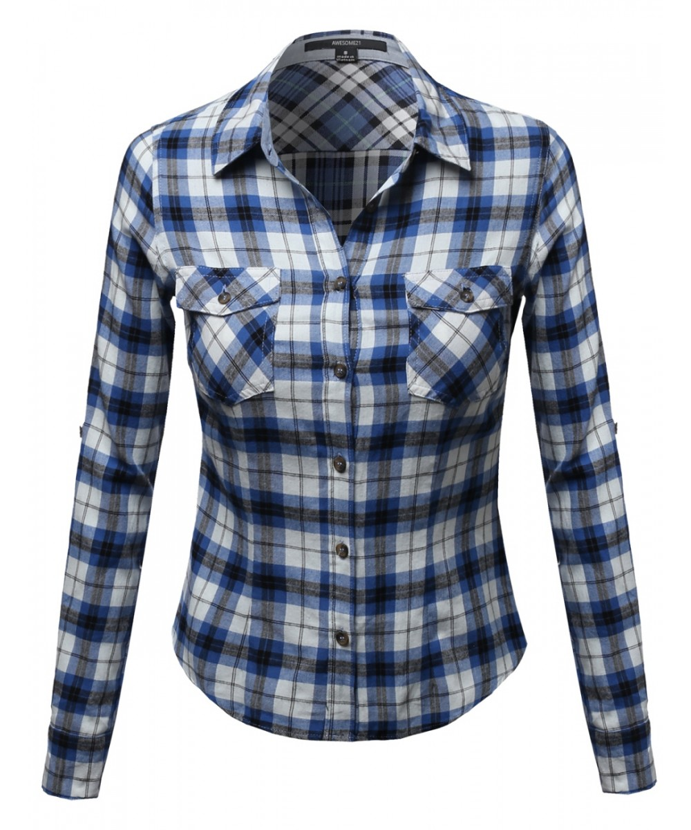 Flannel plaid checker rolled up shirts blouse top for How to roll up sleeves on women s dress shirt