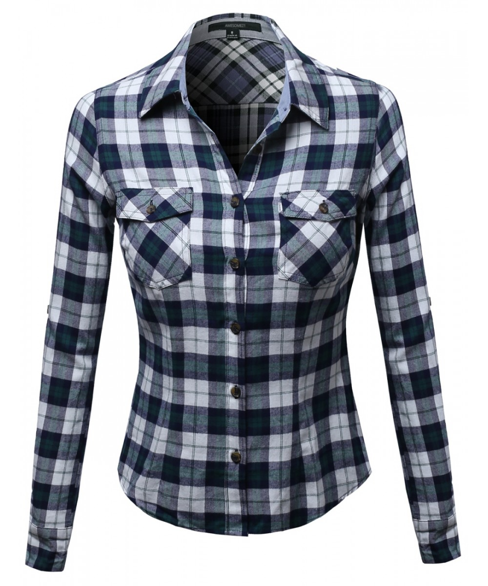 Flannel plaid checker rolled up shirts blouse top for Plaid button down shirts for women