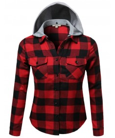 Women's Soft Plaid Checkered Detachable Hood Flannel Plus Size