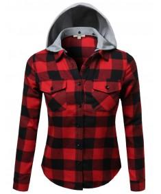 Women's Soft Plaid Checkered Detachable Hood Flannel Plus Size