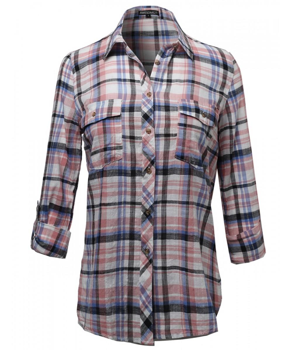 Women 39 s long sleeve lightweight plaid button down shirt for Womens patterned button down shirts