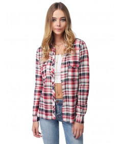 Women's Long Sleeve Lightweight Plaid Button Down Shirt