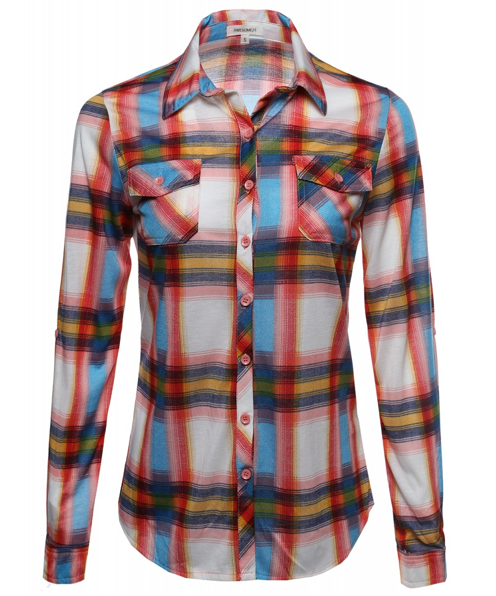 Women 39 s lightweight collar plaid button down shirt for Plaid button down shirts for women
