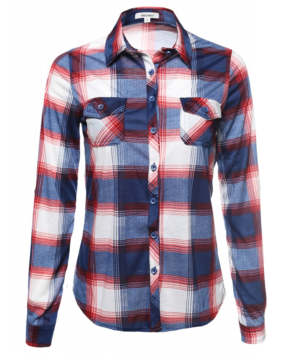 Women's Lightweight Collar Plaid Button Down Shirt - FashionOutfit.com