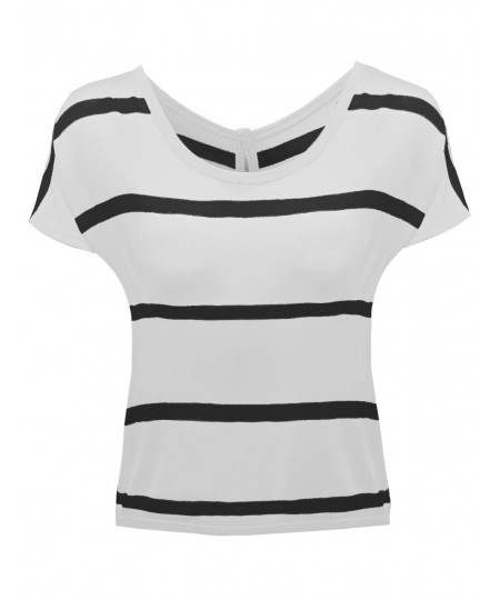 Women's Stripe Batwing Sleeve Knit Button Tops