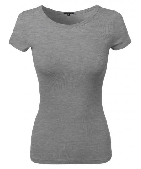 Women's Short Sleeve Round Neck Rib Top