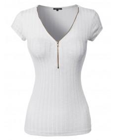 Women's Zipper Front Rib Knit Short Sleeve Shirt