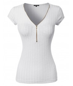 Women's Zipper Front Rib Knit Short Sleeve Shirt