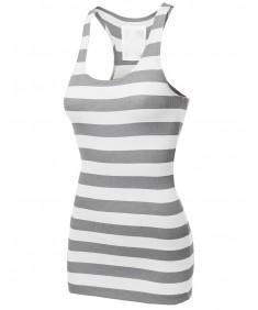 Women's Basic Rib Racerback Wide Stripe Tank Top T-Shirt