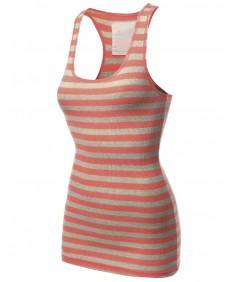 Women's Basic Sleeveless Ribbed Racer-Back Stripe Tight Fit Tank Top