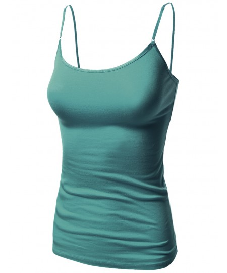 Women's Basic Solid Camisole Tank Tops With Adjustable Straps