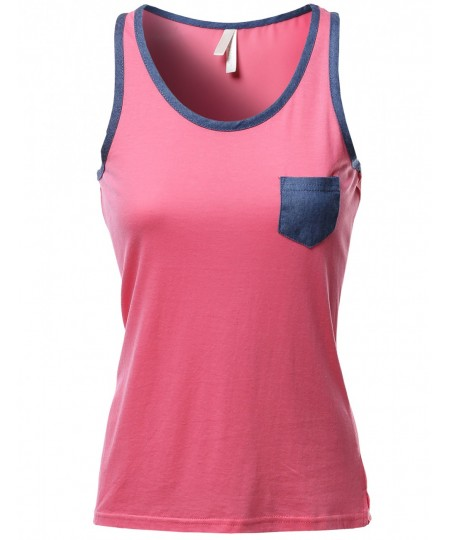 Women's Color Contrast Round Neck Tank Tops