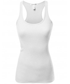Women's Basic Solid Ribbed Racerback Sleeveless Tank Tops