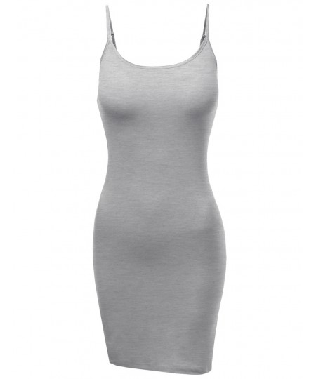 Women's Slim Fit Solid Spaghetti Strap Cami Slip Dresses