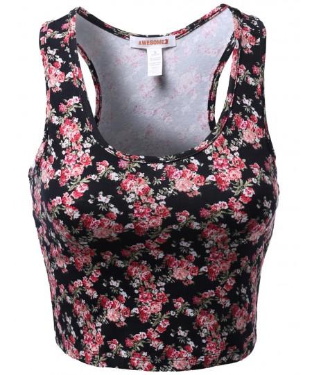 Women's Floral Flower Pattern Sleeveless Crop Tank Tops
