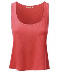 Women's Basic Gauze Sleeveless Tank Crop Tops