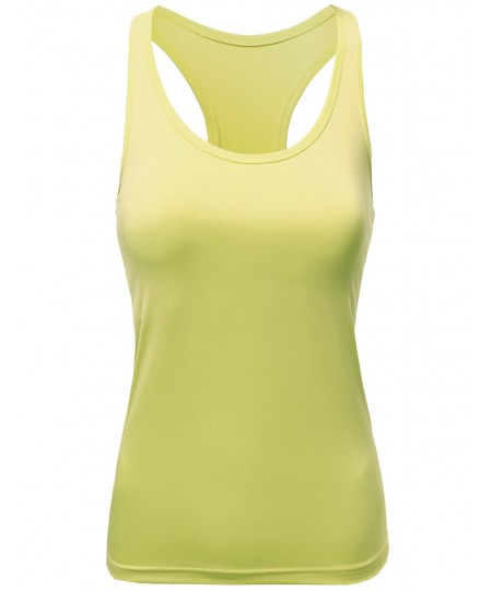 Women's Solid Racerback Padded Sleeveless Workout Tank Tops