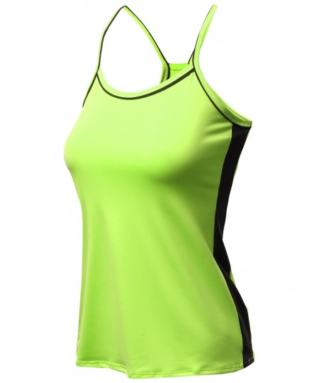Women's Neon Color Contrast Cami Sleeveless Tank Tops