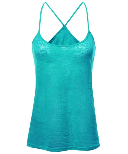 Women's Basic Solid Burn Out Strap Tank Tops