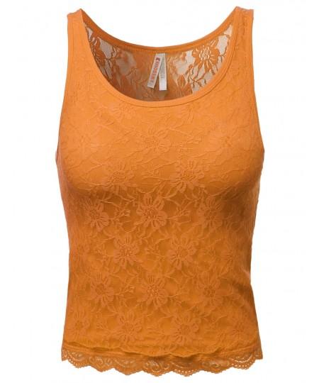 Women's Lace Cute Crop Tank Tops