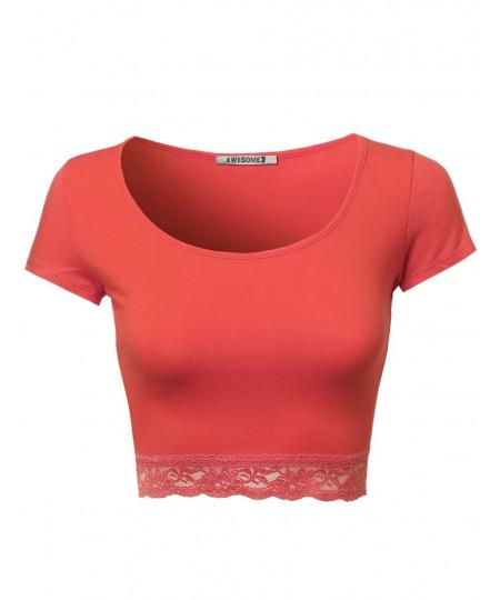 Women's Cute Lace Bottom Crop Tops