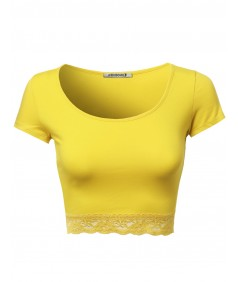 Women's Cute Lace Bottom Crop Tops