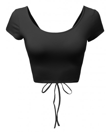 Women's Super Cute Open Sexy Back Laced Up Tank Tops