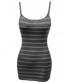 Women's Soft Strechy Stripe Casual  Adjustable Strap Camisole Tops