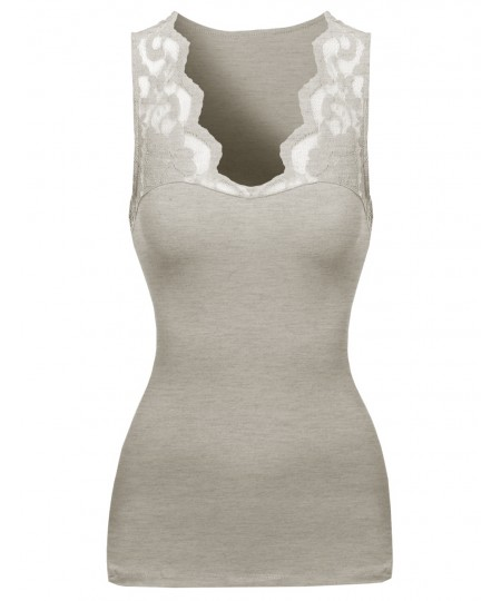 Women's Casual Lace Contrast Sleeveless Top