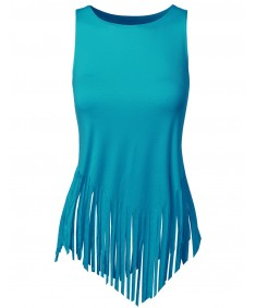 Women's Solid Fringe Muscle Tank Top