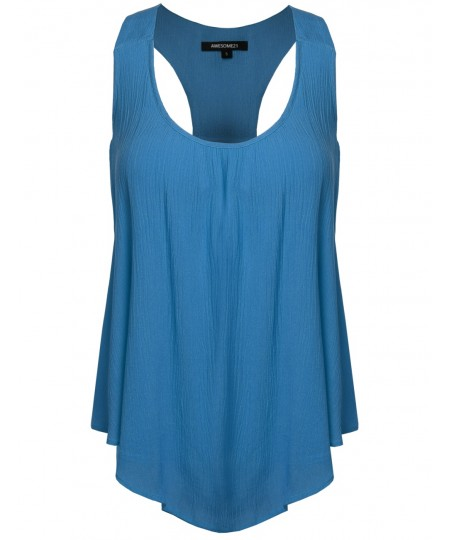 Women's Solid Chiffon Scoop Neck Racer-Back Flare Tank Top