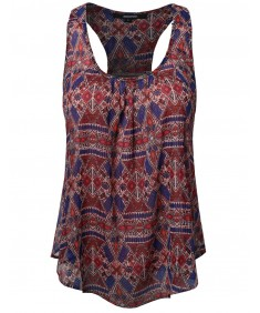 Women's Aztec Print Chiffon Scoop Neck Racer-Back Flare Tank Top