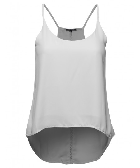 Women's Simple Spaghetti Strap Cami w/ Back Embroidery