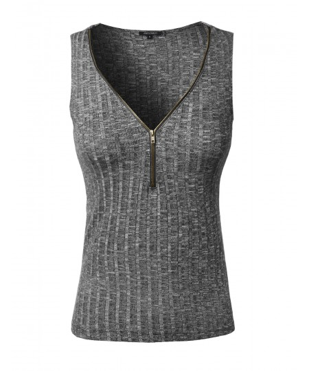 Women's Sleeveless Ribbed Top With Center Zipper