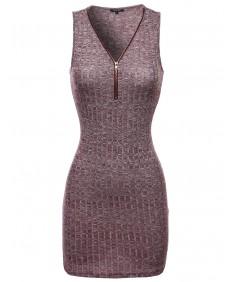 Women's Sleeveless Ribbed Dress With Center Zipper