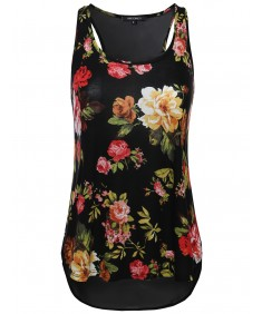 Women's Floral Scoop Neck Racer-Back Flare Tank Top