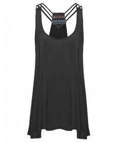 Women's Multi Strap Tank Top with Aztec Back Design