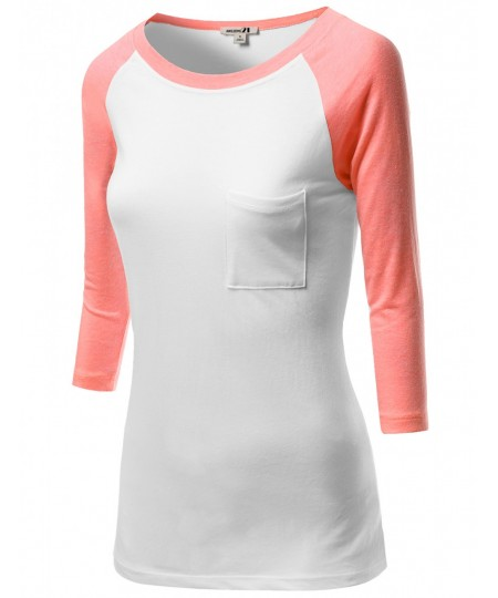 Women's 3/4 Color Contrast Sleeve Pocket Raglan Baseball T-Shirt Tops