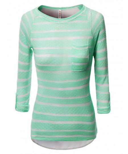 Women's Tunic 3/4 Sleeve Shirring Tops