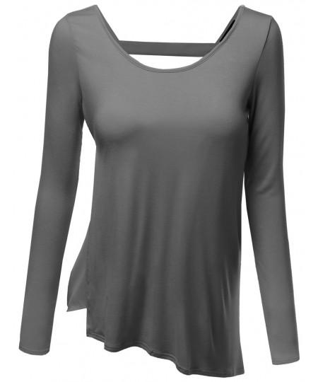 Women's Long Sleeve Color Contrast Asymmetrical Hem Tops