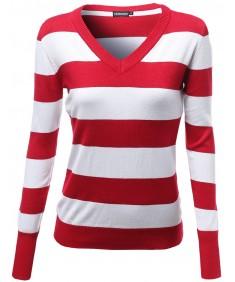 Women's Basic V Neck Stripe Pull Over Knit Sweaters